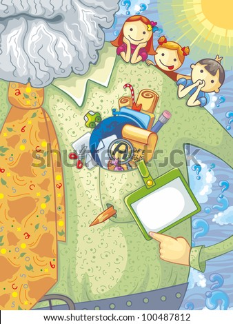Teacher, schoolchildren and school elements. With space for your text - stock vector