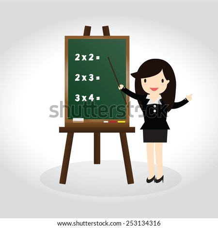 Teacher standing next to blackboard during a math class and pointing hand - stock vector