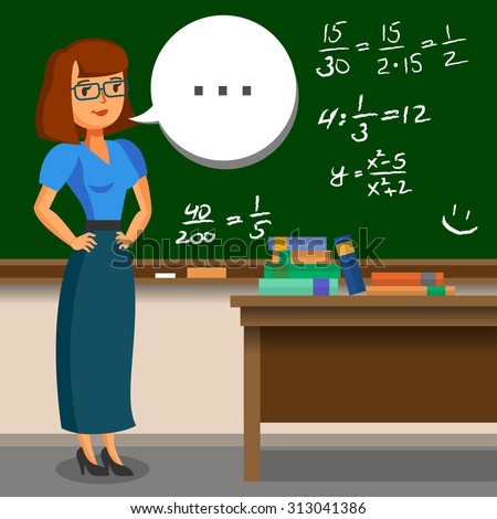 Teacher standing on blackboard background in the classroom. Vector illustration