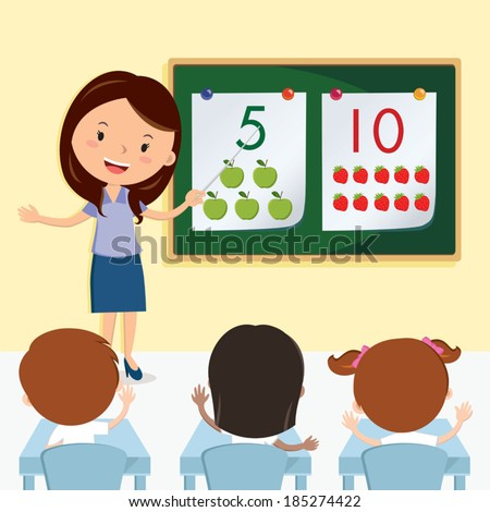 Teacher teaching in the class. Vector illustration of a cheerful teacher having lesson with school kids. - stock vector
