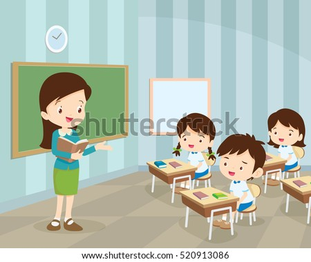 Teacher Teaching Students In Classroom, World Book Day, Back to school, Stationery, Book, Children,class with teacher and pupils.