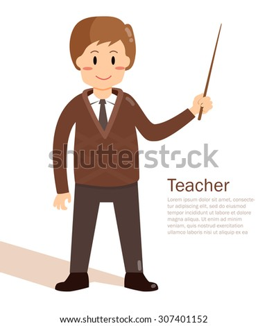 Teacher with a pointer. Profession. Vector isolated illustration. Cartoon character