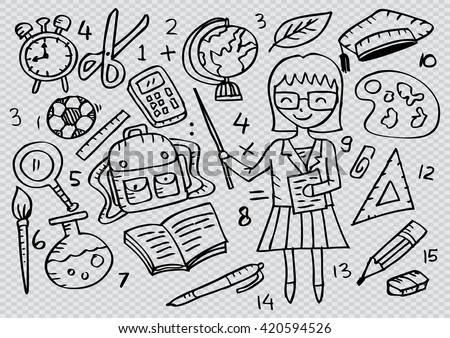 Teacher with icon school. Sketchy style. - stock vector