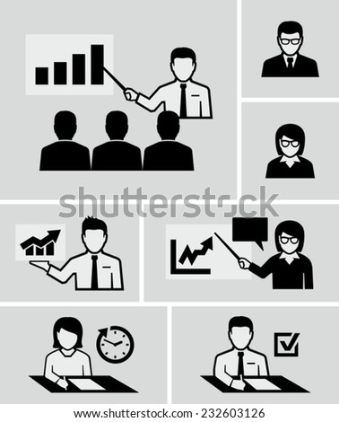 Teacher woman lecturing beside board. Teaching. Teacher with group students in classroom. Teacher holding a wand. Student sitting at desk. - stock vector