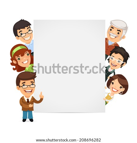 Teachers Presenting Empty Vertical Banner. In the EPS file each element is grouped separately. - stock vector