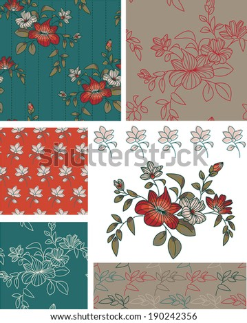 Teal Floral Seamless Patterns and Icons. Use as fills, digital paper, or print off onto fabric to create unique items. - stock vector