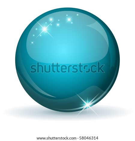 Teal glossy sphere isolated on white. - stock vector