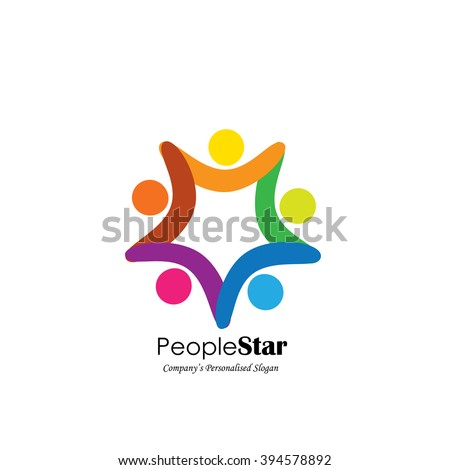 team and teamwork of group of employees in star shape - vector icon. This graphic also represents concepts like employees connected, family love, community people together, unity & solidarity - stock vector