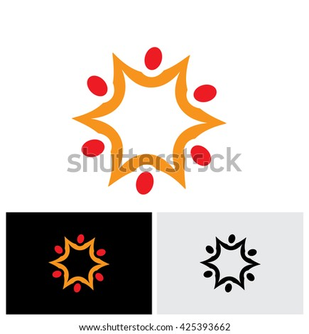 team and teamwork of group of employees in star shape - vector logo icon. This graphic also represents concepts like employees connected, family love, community people together, unity & solidarity - stock vector
