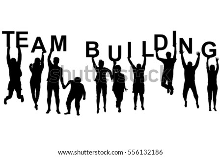 Team building concept with silhouettes of women and men jumping