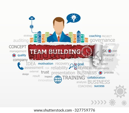 Team building graph concept word cloud and business man. Team building graph design illustration concepts for business, consulting, finance, management, career. - stock vector