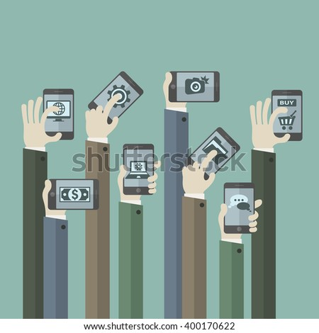 Team business concept. Hands with phones. Vector illustration - stock vector