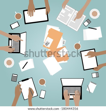 Team Collaboration with Devices and Hands - Grouped and layered EPS10 - stock vector