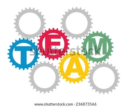 Team concept with intermeshing color gears - stock vector