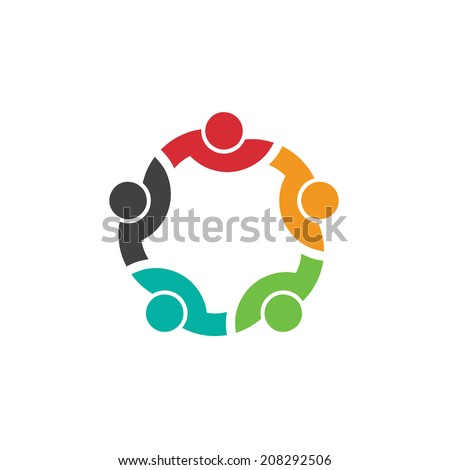 Team 5 congress.Concept group of connected people , happy friends, helping each other.Vector icon - stock vector