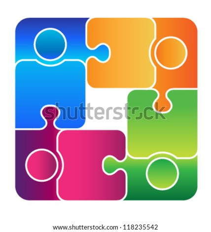 Team Connected - stock vector