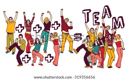 Team group happy young people color isolate white. Group of active happy people team with sign  isolated on white. Vector illustration. EPS8 - stock vector