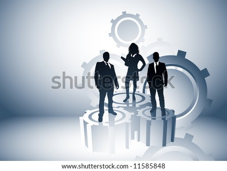 Team leaders business concept with people on cogs. Vector illustration. - stock vector