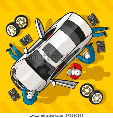 Team mechanics repairing a car at a service station. - stock vector