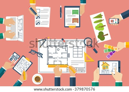 Team of architects working on a project. Architects discussing plans. Hands of architects working on blueprints. Teamwork, brainstorming. Work Desk designers. Vector, flat. Planning construction. - stock vector