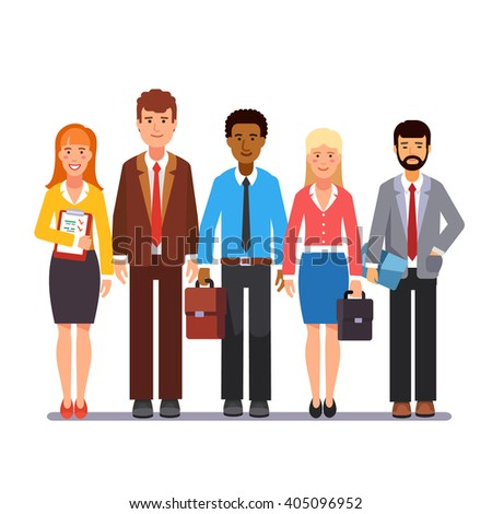 Team of business man and woman standing together. Flat style vector illustration. - stock vector