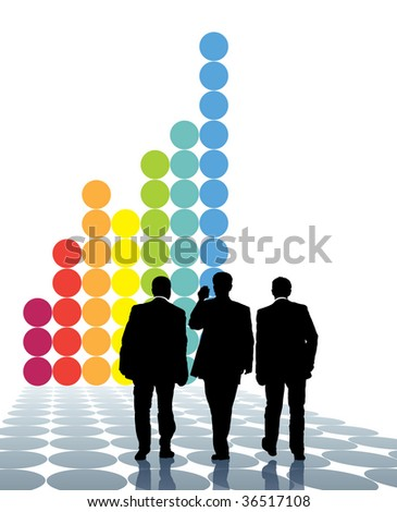 Team of businessmen and a large graph in the background. - stock vector