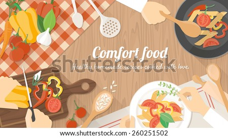 Team of chefs working together and cooking a vegetarian meal, hands at work close up - stock vector