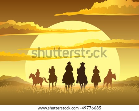 Team of cowboys silhouette galloping against a sunset background - stock vector