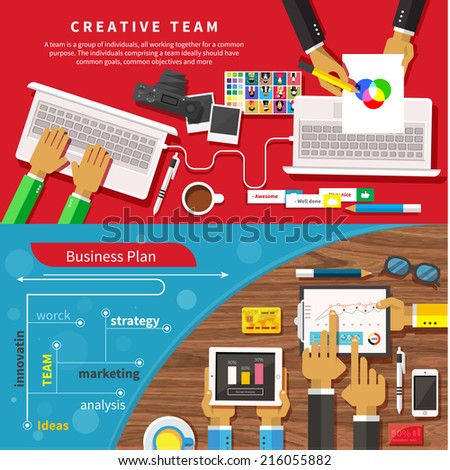 Team of designers working together on a computer. Creative team. Business plan with creative businessman showing positive growth in flat design style - stock vector