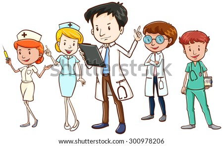Team of doctors and nurses standing on white background
