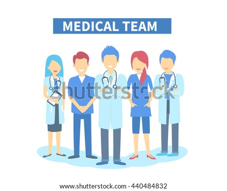 Team of doctors and other hospital workers stand together. Vector stylish illustration isolated on white background. - stock vector