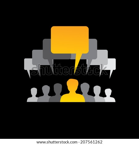 team of employees communicate, discuss & interact - concept vector. The graphic with speech bubbles & chat icons also shows people conference, social media network, executives & management - stock vector