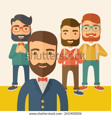 Team of four happy hipster Caucasian business people with beard, standing clapping their hands and smiling. Winner, teamwork concept. A contemporary style with pastel palette, beige tinted background - stock vector
