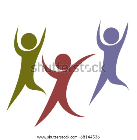 Team of funny colorful people in move - stock vector