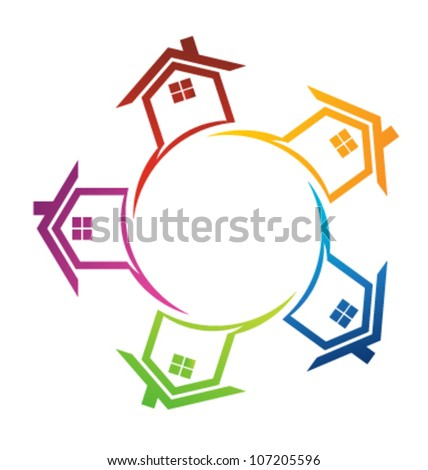 Team of houses Sign for Sale. Vector icon - stock vector