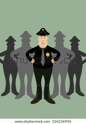 team officers  - stock vector