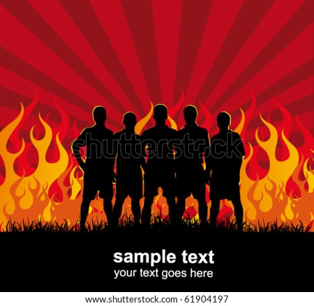 team on the fire background - football poster - stock vector