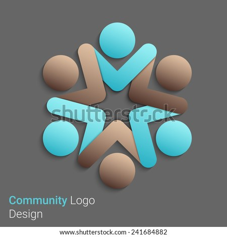 Team Partners Friends logo design vector template. Eps10 vector for your design - stock vector