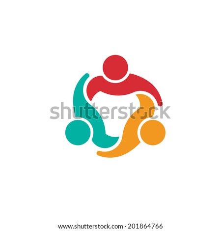 Team 3 people logo council.Concept group of people united, Vector icon - stock vector