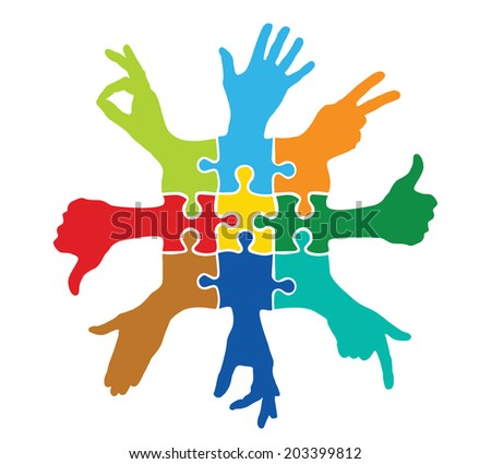 Team play with colorful puzzle pieces - stock vector