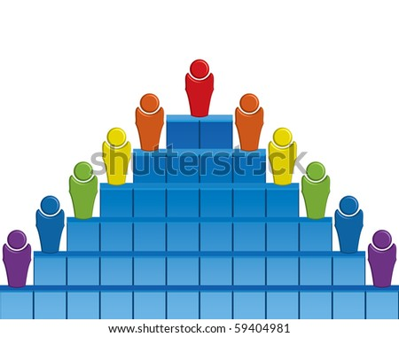 Team pyramid with eleven members - stock vector