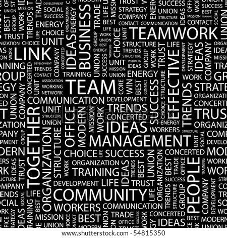 TEAM. Seamless vector background. Wordcloud illustration. - stock vector