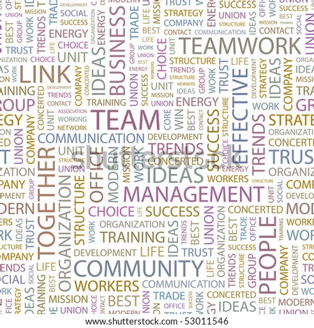 TEAM. Seamless vector pattern with word cloud.