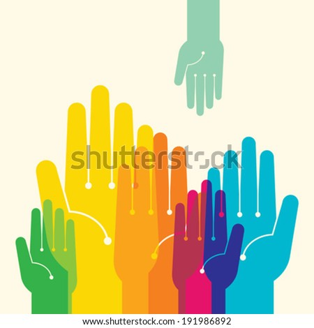 Team symbol. Multicolored hands - stock vector