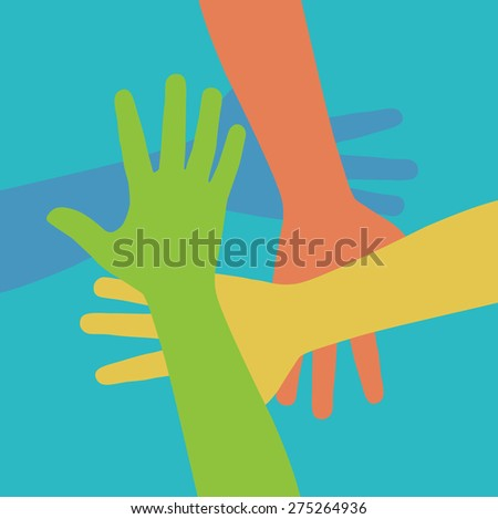 Team symbol. Multicolored hands - stock vector