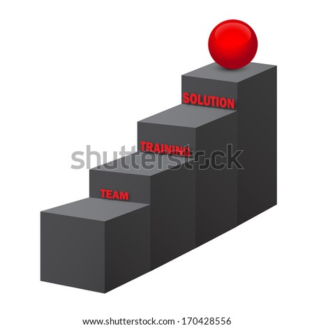 Team, training, solution stairs, 3d vector on white background - stock vector