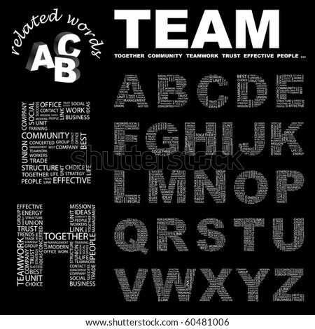 TEAM. Vector letter collection. Illustration with different association terms.