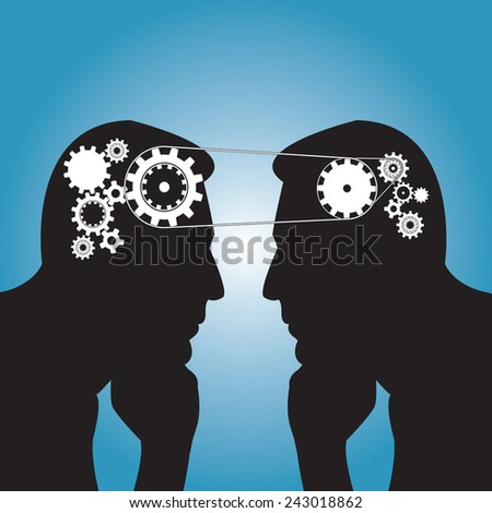 Team work concept in cloud computing   - stock vector