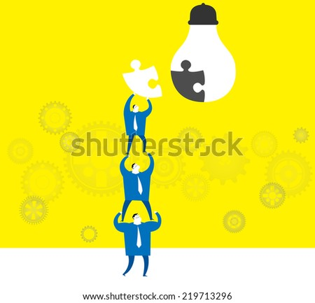 Team work :Creating a great idea. - stock vector
