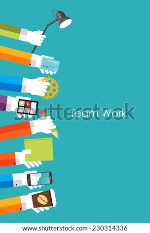 Team Work Flat Concept Vector Illustration - stock vector